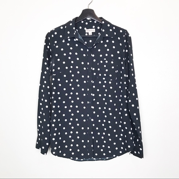 Merona Tops - Merona Navy White Polka Dot Button Down Blouse S